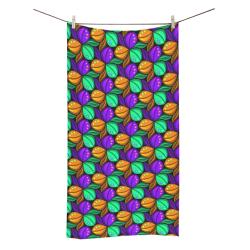 "Tricolor Floral Pattern Orange Green and Violet Bath Towel 30""x56"""