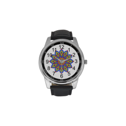 Brilliant Star Mandala Men's Leather Strap Large Dial Watch(Model 213)