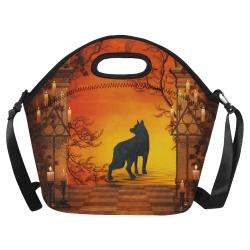 Wonderful black wolf in the night Neoprene Lunch Bag/Large (Model 1669)