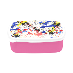 Blue and Red Paint Splatter Pink Children's Lunch Box