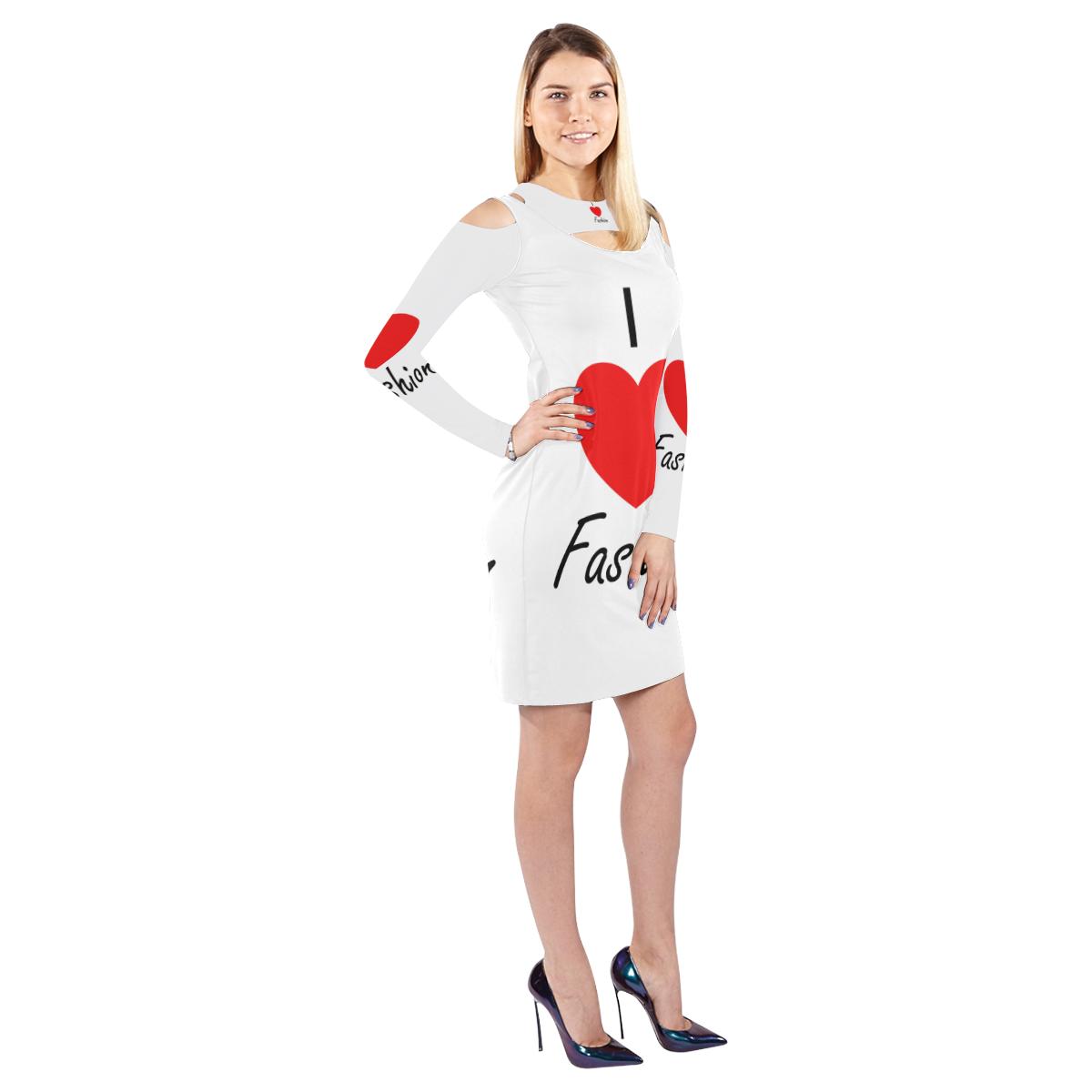 I Love Fashion Cold Shoulder Long Sleeve Dress (Model D37)