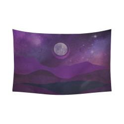 "Purple Moon Night Cotton Linen Wall Tapestry 90""x 60"""