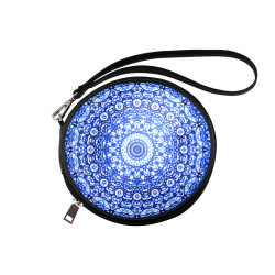 Blue Mandala Mehndi Style G403 Round Makeup Bag (Model 1625)