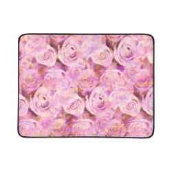 """Pink roses Beach Mat 78""""x 60"""""""