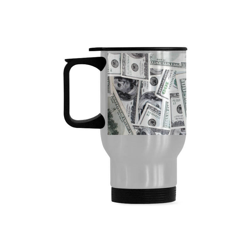 Cash Money / Hundred Dollar Bills Travel Mug (Silver) (14 Oz)