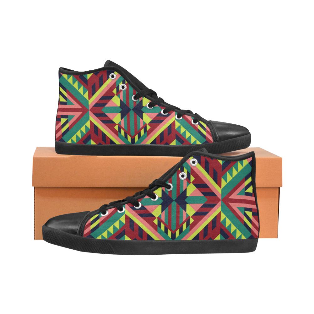 Modern Geometric Pattern High Top Canvas Kid's Shoes (Model 002)