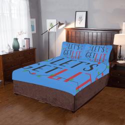 Lets GET LIT CHRISTMAS BLUE 3-Piece Bedding Set