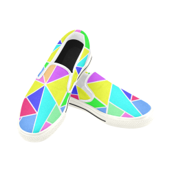 Triangle Colors Women's Slip-on Canvas Shoes (Model 019)