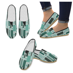 Abstract Green Squares Casual Shoes for Women (Model 004)