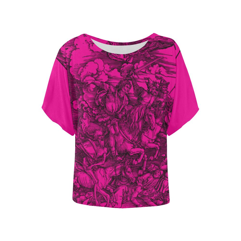 Four-Horsemen Illustration Women's Batwing-Sleeved Blouse T shirt (Model T44)