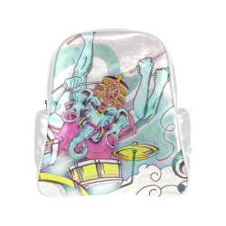 """Pastel Ganesha Drummer Design Pink and Yallow and White - """"Birthday Cake Colors"""" Original  Multi-Pockets Backpack (Model 1636)"""