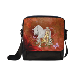 Unicorn with fairy and butterflies Crossbody Nylon Bags (Model 1633)