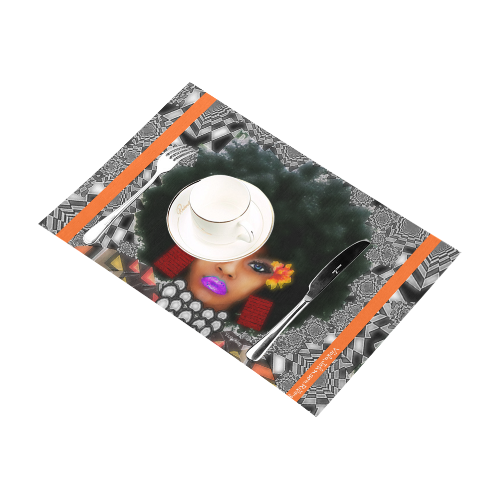 FUEL UP 4pc tab mat org Placemat 12'' x 18'' (Four Pieces)