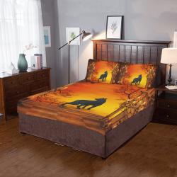 Wonderful black wolf in the night 3-Piece Bedding Set