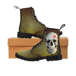 Skull kiss on hammered bronze Martin Boots for Women (Black) (Model 1203H)