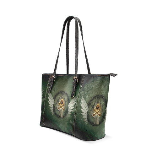 Skull in a hand Leather Tote Bag/Large (Model 1640)