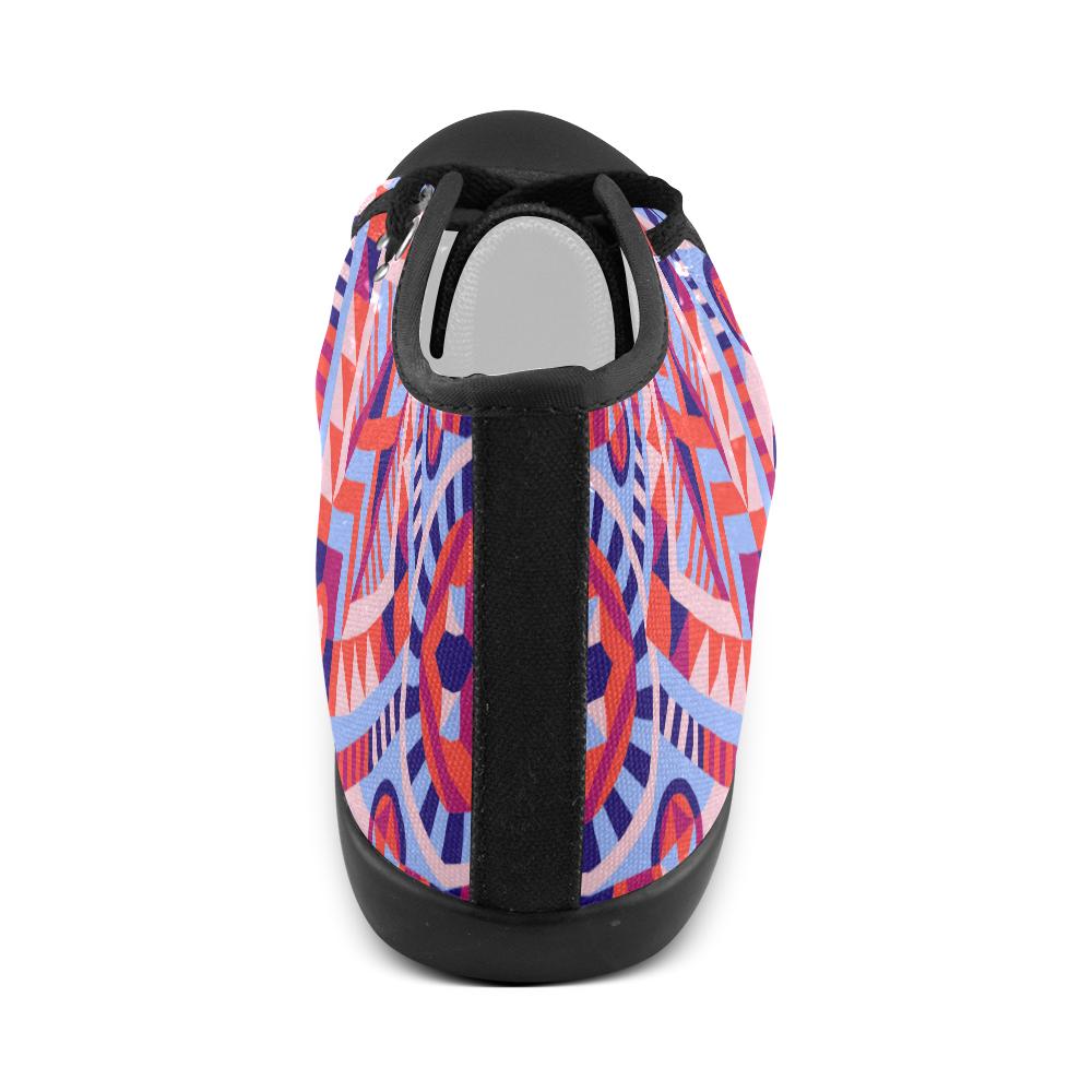 Modern Geometric Pattern Men's High Top Canvas Shoes (Model 002)