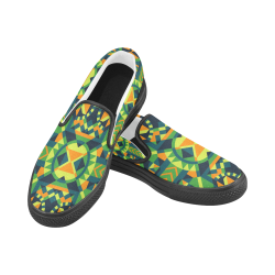 Modern Geometric Pattern Men's Unusual Slip-on Canvas Shoes (Model 019)