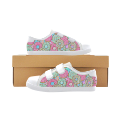 Doughnut (Donut) Pattern Velcro Canvas Kid's Shoes (Model 008)