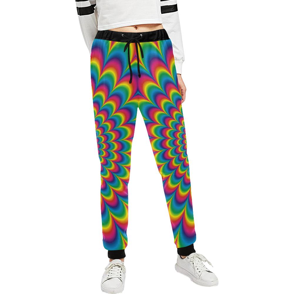 Crazy Psychedelic Flower Power Hippie Mandala Unisex All Over Print Sweatpants (Model L11)