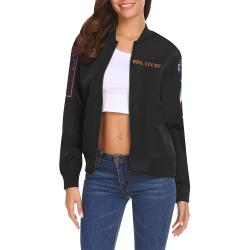 blk 50th All Over Print Bomber Jacket for Women (Model H19)