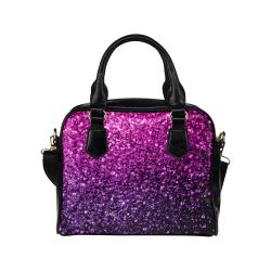 Beautiful Purple Pink Ombre glitter sparkles Shoulder Handbag (Model 1634)