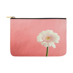 Gerbera Daisy - White Flower on Coral Pink Carry-All Pouch 12.5''x8.5''