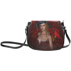 Beautiful steampunk lady, awesome hat Classic Saddle Bag/Small (Model 1648)