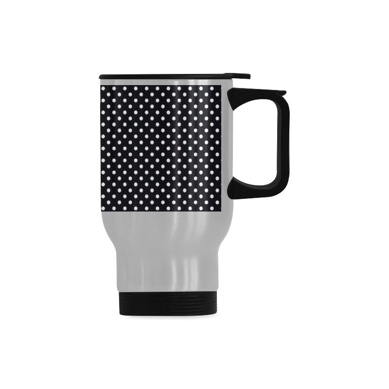 Black polka dots Travel Mug (Silver) (14 Oz)