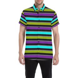 retro stripe 1 Men's All Over Print Short Sleeve Shirt (Model T53)