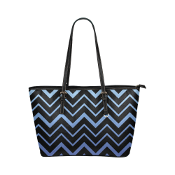 Steel Blue Chevrons on Black Background Leather Tote Bag/Large (Model 1651)