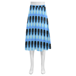 Blue love Mnemosyne Women's Crepe Skirt (Model D16)