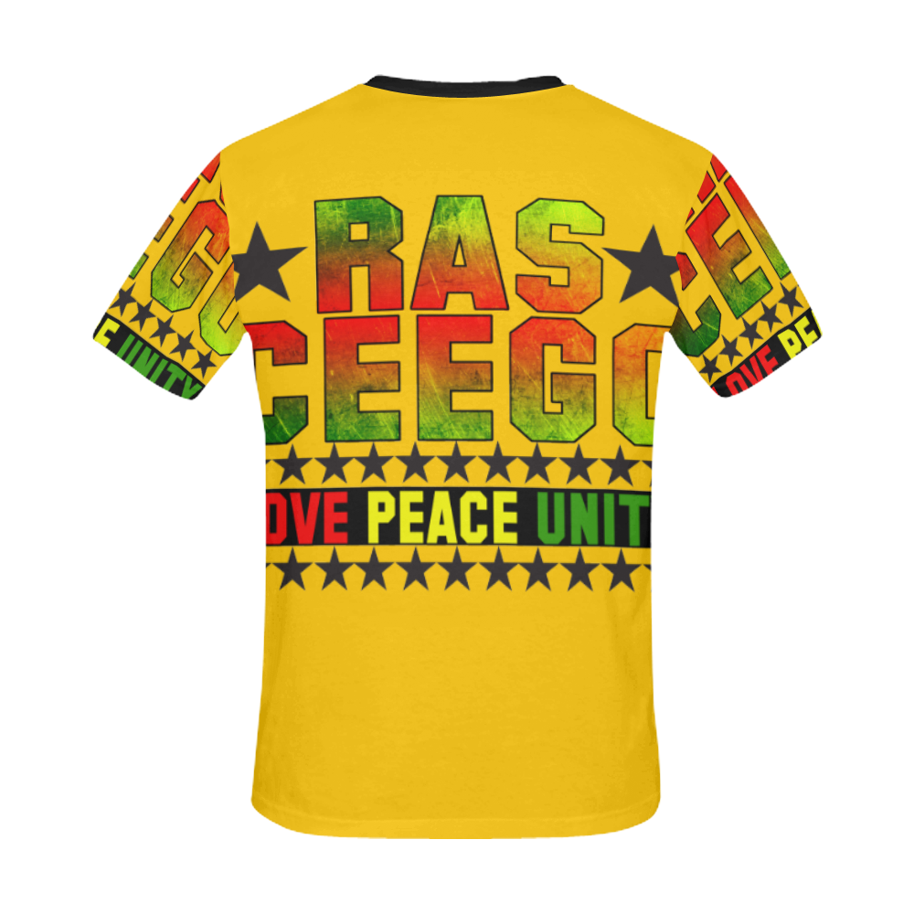 Ras CeeGo Yellow All Over Print T-Shirt for Men/Large Size (USA Size) Model T40)