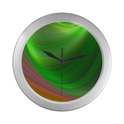 Silver Frame Wall Clock Colorful Abstract Gradient Style Wall Accessory Silver Color Wall Clock