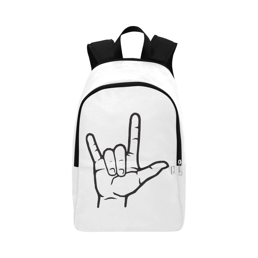 Black ASL I Love You Fabric Backpack for Adult (Model 1659)