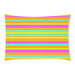 Neon Stripes  Tangerine Turquoise Yellow Pink Custom Rectangle Pillow Case 20x30 (One Side)