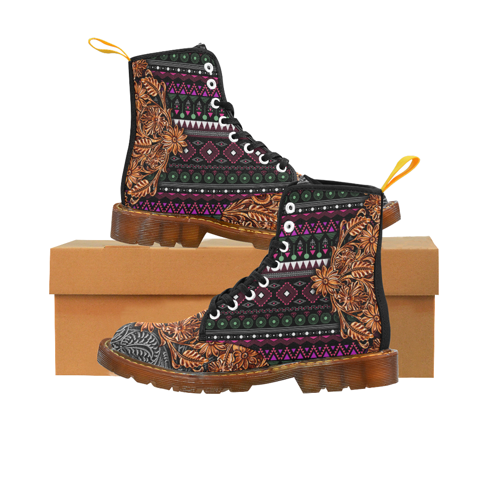 Southwest Leather Bohemian Pink Martin Boots For Women Model 1203H