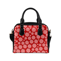 Christmas Peppermint Candy on Red Shoulder Handbag (Model 1634)