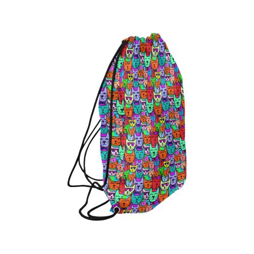 "Rainbow Cats Medium Drawstring Bag Model 1604 (Twin Sides) 13.8""(W) * 18.1""(H)"