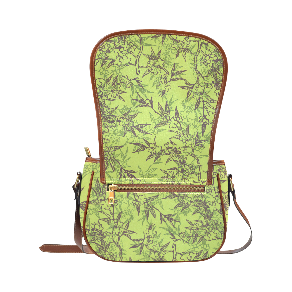 Gorgeous Leaves on Pastel Green Saddle Bag/Large (Model 1649)