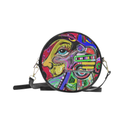 Abstract Human Face Round Sling Bag (Model 1647)