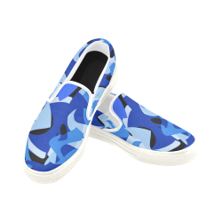 Camouflage Abstract Blue and Black Women's Unusual Slip-on Canvas Shoes (Model 019)