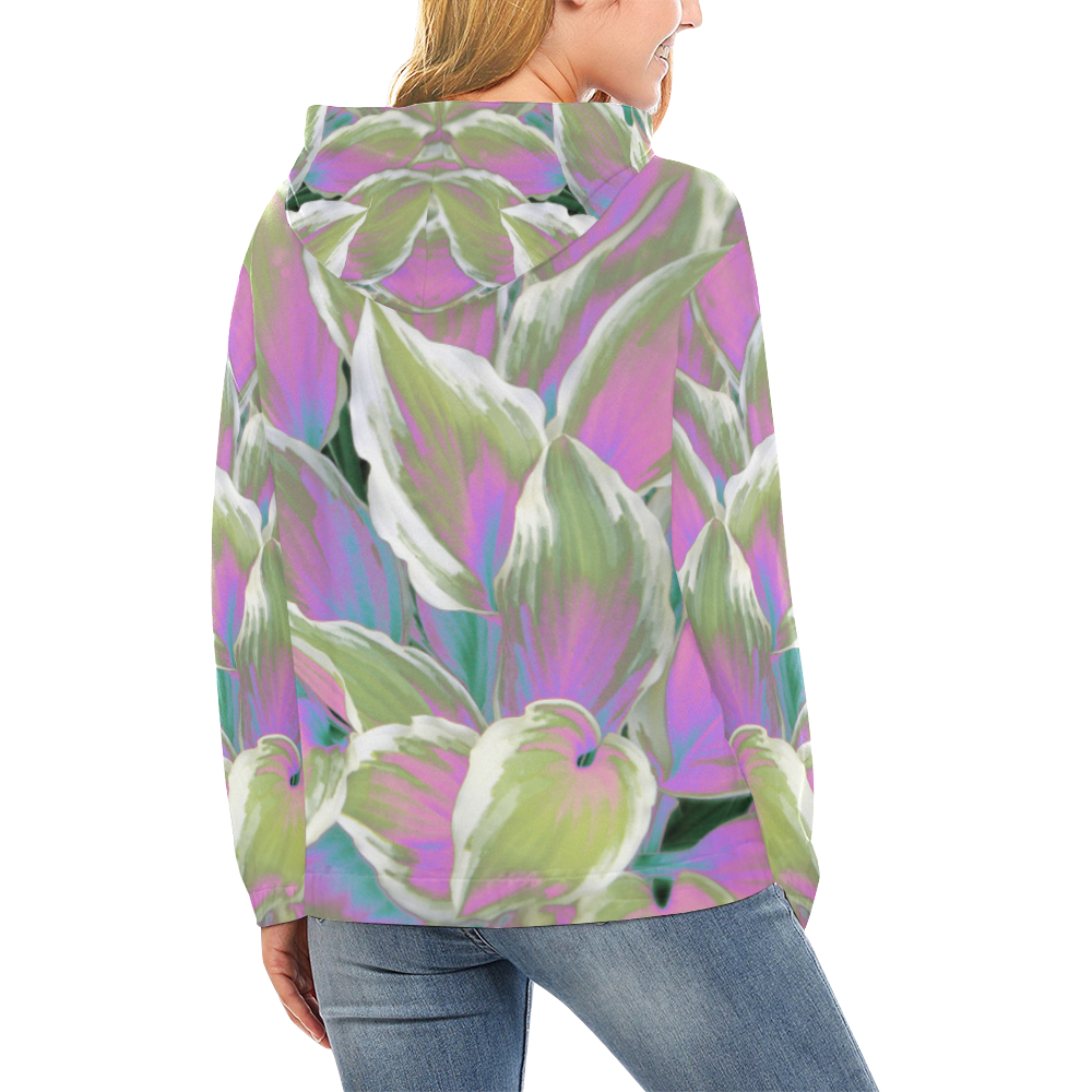 leafs_abstract 07 All Over Print Hoodie (for Women)