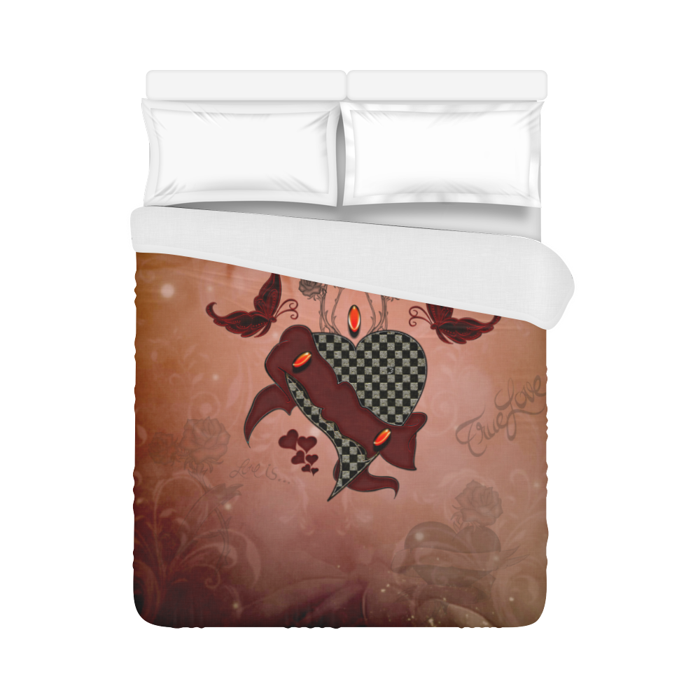 "Heart with butterflies Duvet Cover 86""x70"" ( All-over-print)"