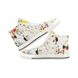 Yellow & Black Paint Splatter - White Vancouver H Women's Canvas Shoes (1013-1)