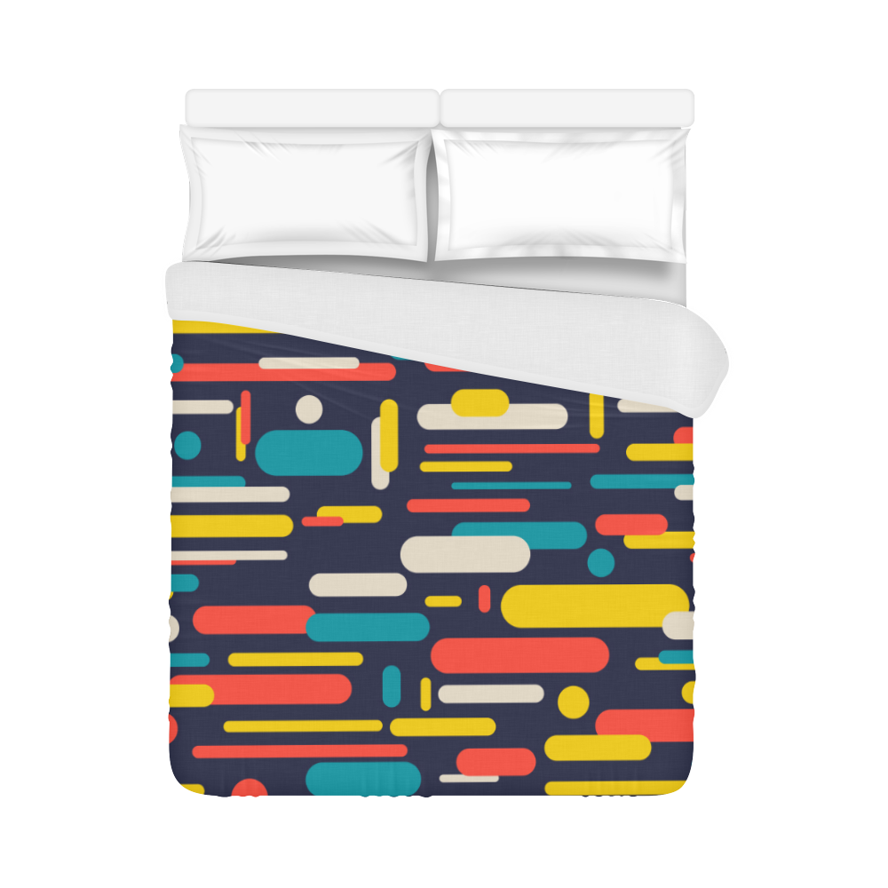 """Colorful Rectangles Duvet Cover 86""""x70"""" ( All-over-print)"""
