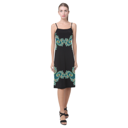 Aqua and Black  Hearts Lace Fractal Abstract Alcestis Slip Dress (Model D05)