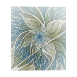 "Floral Fantasy Pattern Abstract Blue Khaki Fractal Art Quilt 60""x70"""
