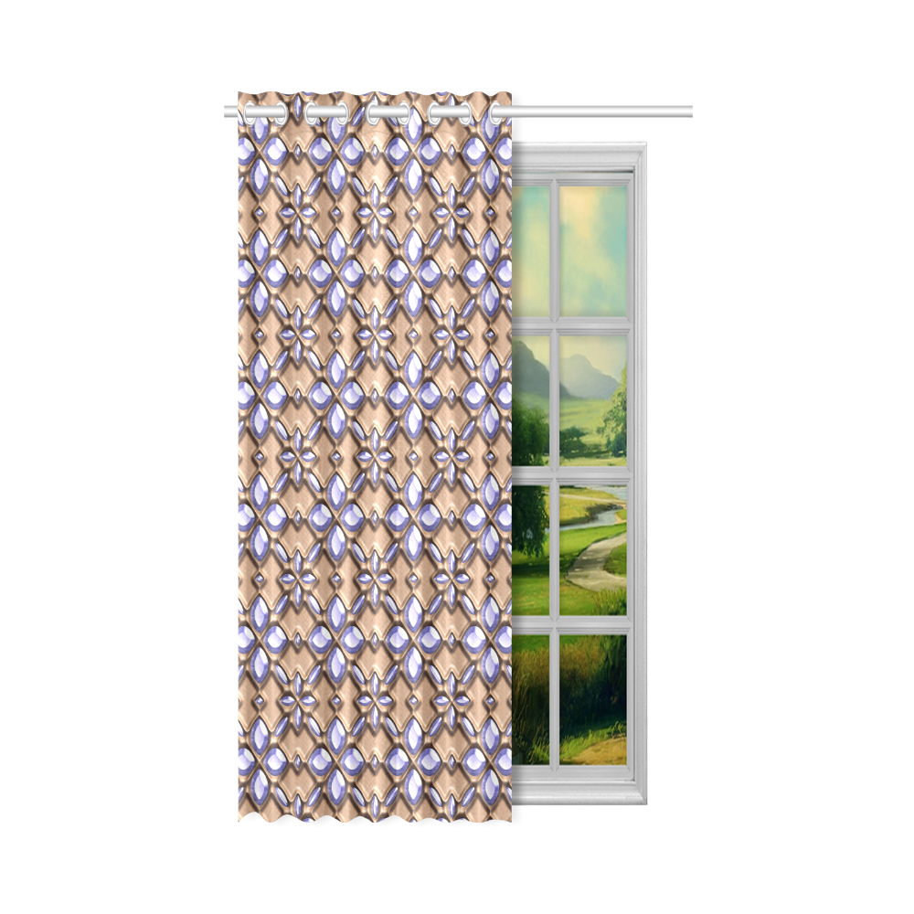 """Blue glass pattern in brown background. New Window Curtain 50"""" x 84""""(One Piece)"""