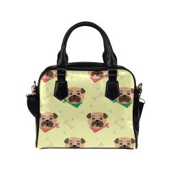 Pugs Wearing Bandanas Shoulder Handbag (Model 1634)